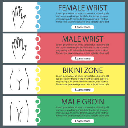 Body parts web banner templates set. Man and womans hands, bikini zone, male groin. Website color menu items with linear icons. Vector headers design concepts