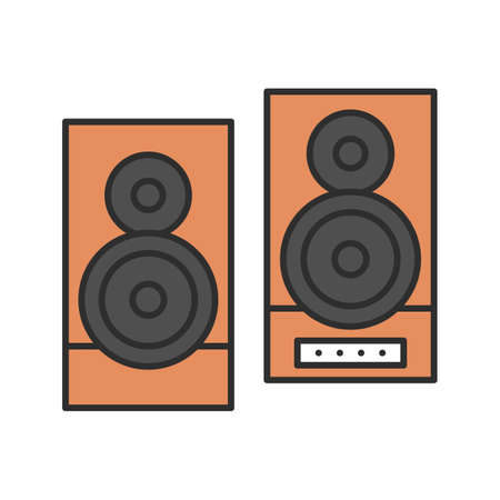 Speakers color icon. Stereo system. Isolated vector illustration Illustration