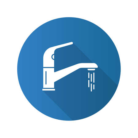 Faucet flat design long shadow glyph icon. Water tap. Vector silhouette illustration