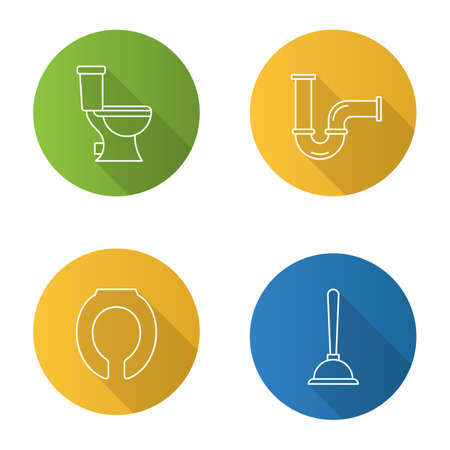 Plumbing flat linear long shadow icons set. Lavatory pan, toilet seat, plunger, pipe. Vector outline illustration