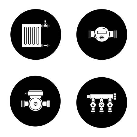 Plumbing glyph icons set. Radiator, water meter and pump, manifold tap. Vector white silhouettes illustrations in black circles