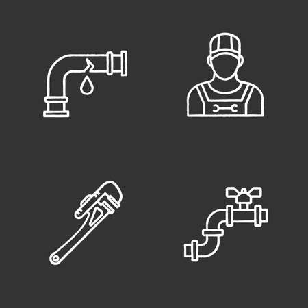 Plumbing chalk icons set. Broken waterpipe, plumber, monkey wrench, pipe with valve. Isolated vector chalkboard illustrations