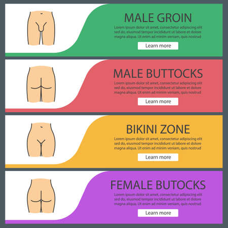 Human body parts web banner templates set. Male groin, bikini zone, man and woman's buttocks. Website color menu items. Vector headers design concepts