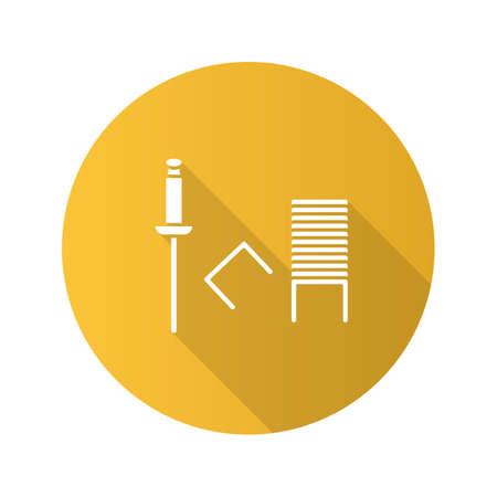 Stapler pins flat design long shadow glyph icon. Staples. Vector silhouette illustration