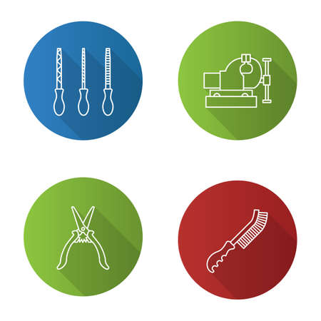 Construction tools flat linear long shadow icons set. Metal files, wire brush, bench vice, construction scissors. Vector outline illustration 向量圖像