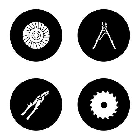 Construction tools glyph icons set. Circular saw blade, crimping tool, abrasive flap wheel, tin snips. Vector white silhouettes illustrations in black circles