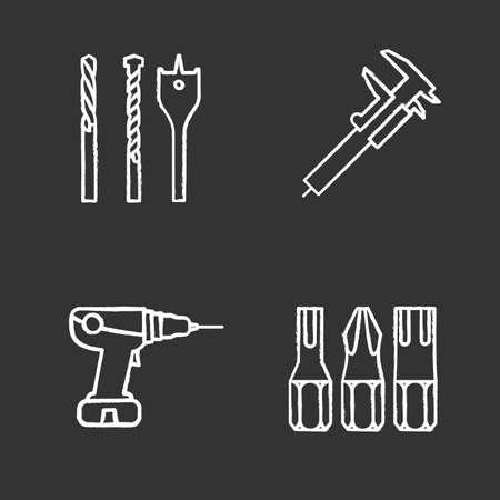 Herramientas de construcción conjunto de iconos de tiza. Puntas de destornillador, calibre deslizante, taladro eléctrico. Ilustraciones vectoriales aisladas de pizarra