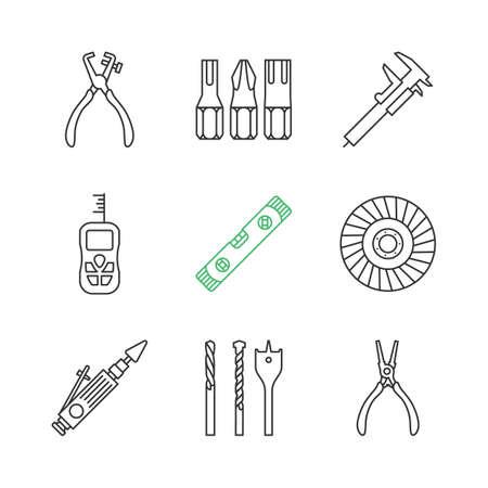 Construction tools linear icons set. Screwdriver bits, slide gauge, vernier caliper, laser ruler, spirit level, abrasive flap wheel. Thin line contour symbols. Isolated vector outline illustrations Ilustração