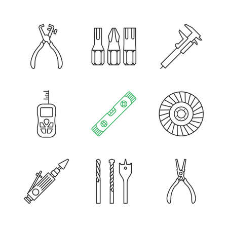 Construction tools linear icons set. Screwdriver bits, slide gauge, vernier caliper, laser ruler, spirit level, abrasive flap wheel. Thin line contour symbols. Isolated vector outline illustrations Illustration