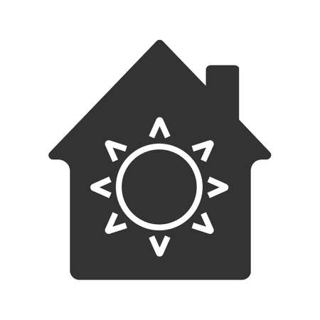 House eco electrification glyph icon. Silhouette symbol. House with sun inside. Negative space. Vector isolated illustration