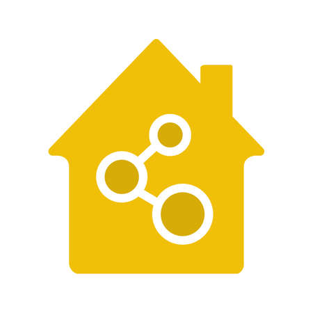 Home network connection glyph color icon. Silhouette symbol on white background. House community. Negative space. Vector illustration