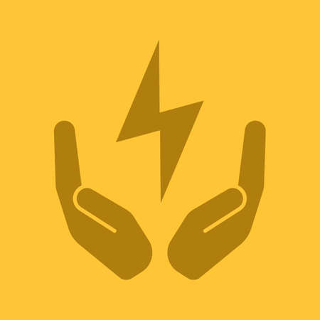 Open palms with lightning bolt glyph color icon. Electricity economy. Silhouette symbol. Saving energy. Negative space. Vector isolated illustration