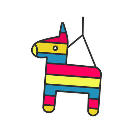 Pinata color icon. Donkey toy. Isolated vector illustration Illustration