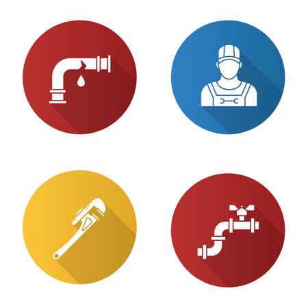 Plumbing flat design long shadow glyph icons set. Broken waterpipe, plumber, monkey wrench, pipe with valve. Vector silhouette illustration