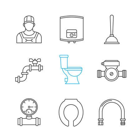 Plumbing Linear Icons Set Thin Line Contour Symbols Home Boiler