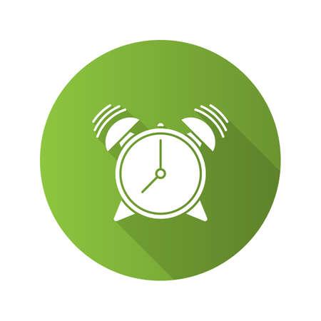 Alarm clock flat design long shadow glyph icon. Vector silhouette illustration Vettoriali