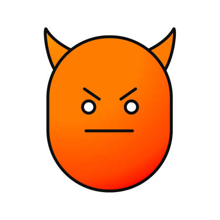 Devil smile color icon. Evil face with horns isolated vector illustration.