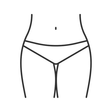 Bikini zone linear icon thin line illustration contour symbol vector isolated outline drawing.