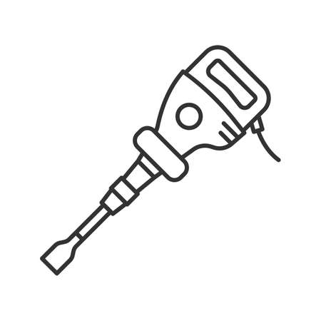 Paving breaker linear icon. Thin line illustration. Air hammer. Contour symbol. Vector isolated outline drawing