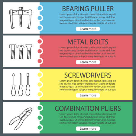Construction tools web banner templates set. Bearing puller, metal bolts, screwdrivers, combination pliers. Website color menu items with linear icons. Vector headers design concepts 일러스트