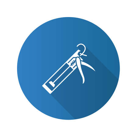Caulking gun flat design long shadow glyph icon. Vector silhouette illustration