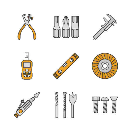 Construction tools color icons set. Screwdriver bits, slide gauge, vernier caliper, laser ruler, spirit level, abrasive flap wheel, metal bolts. Isolated vector illustrations