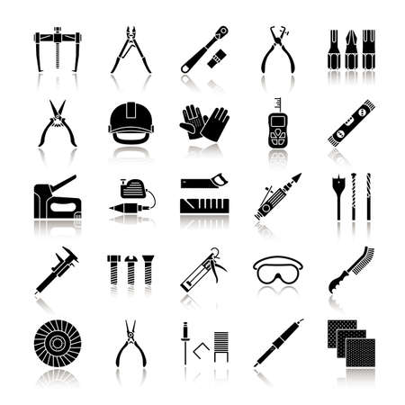 Construction tools drop shadow black glyph icons set. Renovation and repair instruments. Emery paper, solderer, ratchet, bearing puller, spirit level. Isolated vector illustrations