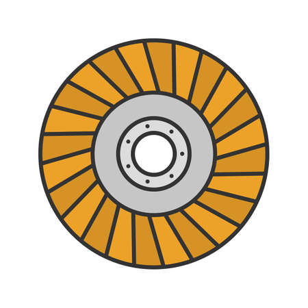 Abrasive flap wheel color icon. Isolated vector illustration