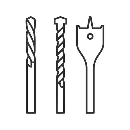 Drill bits linear icon. Thin line illustration. Contour symbol. Vector isolated outline drawing Stock Illustratie