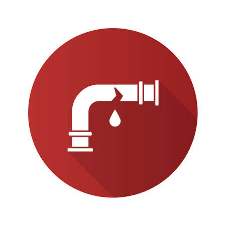 Broken water pipe flat design long shadow glyph icon. Vector silhouette illustration
