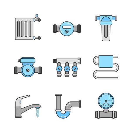 Sanitär Farbsymbole festgelegt. Kühler, Wasserzähler, Pumpe und Filter, Manometer, Krümmerhahn, Handtuchhalter, Wasserhahn, Rohr. Isolierte Vektorzeichnungen