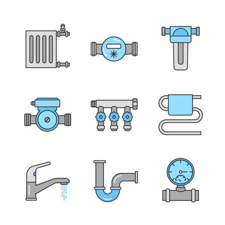 Plumbing color icons set. Radiator, water meter, pump and filter, pressure gauge, manifold tap, towel rail, faucet, pipe. Isolated vector illustrations