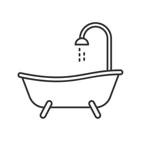 Bathtub linear icon. Thin line illustration. Bath. Contour symbol. Vector isolated outline drawing Stock Vector - 93837403