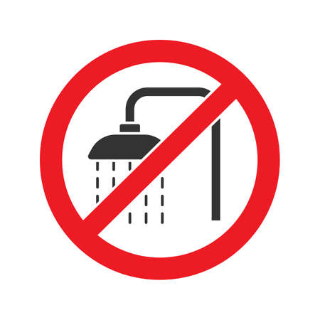Forbidden sign with shower faucet glyph icon. Stop silhouette symbol. Do not use unit in water. Negative space. Vector isolated illustration
