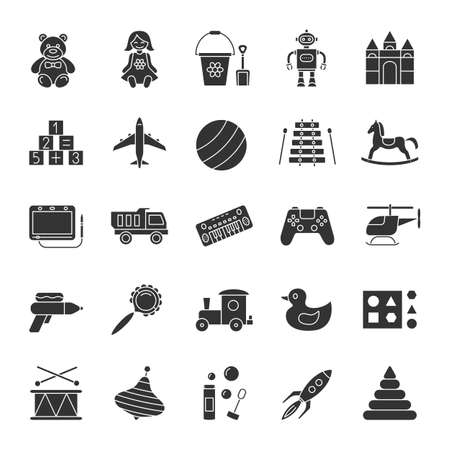 Kids toys glyph icons set. Educational games. Silhouette symbols. Children's entertainment. Vector isolated illustration Vettoriali
