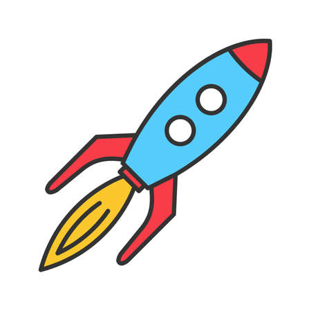 Toy rocket color icon. Spaceship. Isolated vector illustration Illustration