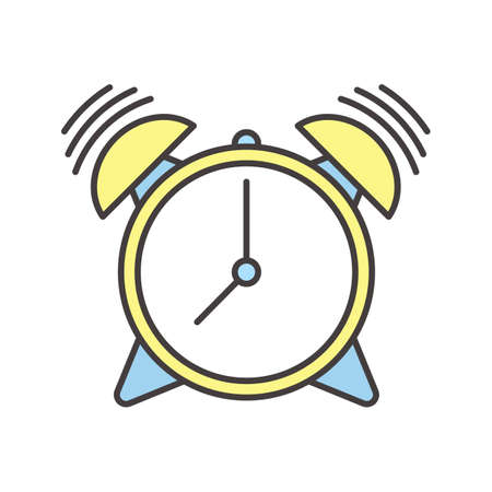 Ringing alarm clock color icon. Isolated vector illustration