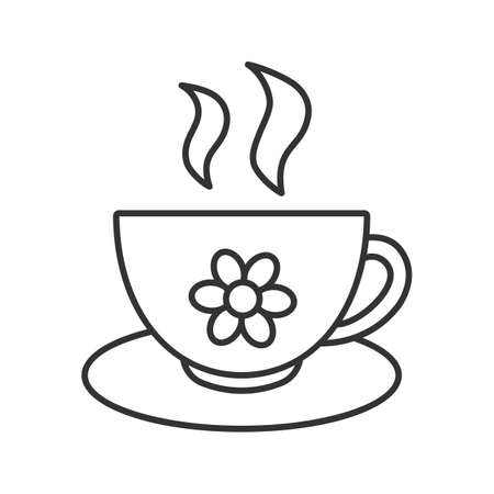 Cup of herbal tea linear icon. Thin line illustration. Contour symbol. Vector isolated outline drawing