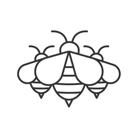 Swarm of honey bees linear icon. Wasps. Thin line illustration. Apiary contour symbol. Vector isolated outline drawing