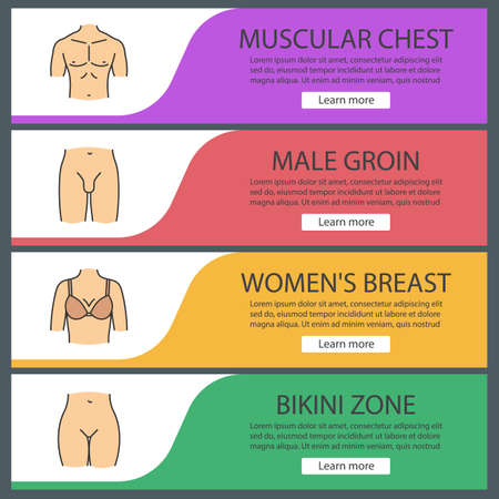 Human body parts web banner templates set. Muscular man's chest, female breast, bikini zone, male groin. Website color menu items. Vector headers design concepts
