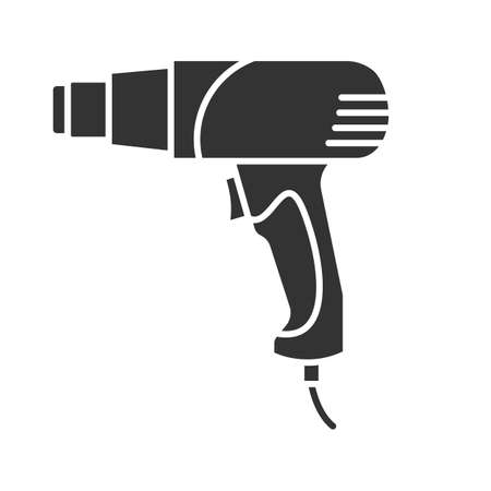Heat gun glyph icon. Silhouette symbol. Hot air gun. Negative space. Vector isolated illustration