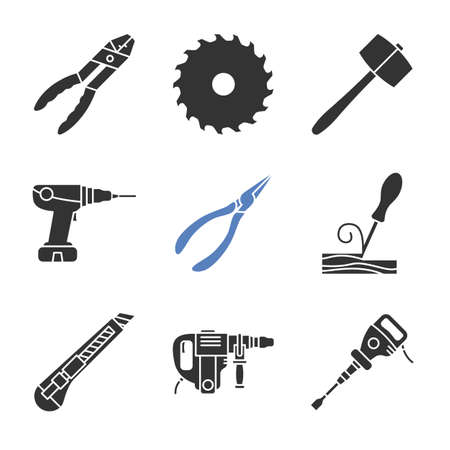 Construction tools glyph icons set. Combination pliers, circular saw blade, power drill, wood chisel, stationery knife, perforate, paving breaker. Silhouette symbols. Vector isolated illustration