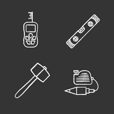 Construction tools chalk icons set. Digital tape measure, spirit level, plumb bob, lump hammer. Isolated vector chalkboard illustrations