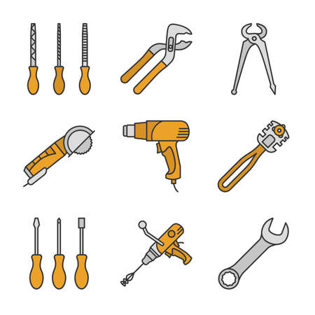 Construction tools color icons set. Screwdrivers, tongue and groove pliers, angle grinder machine, heat gun, glass cutter, wrench. Isolated vector illustrations