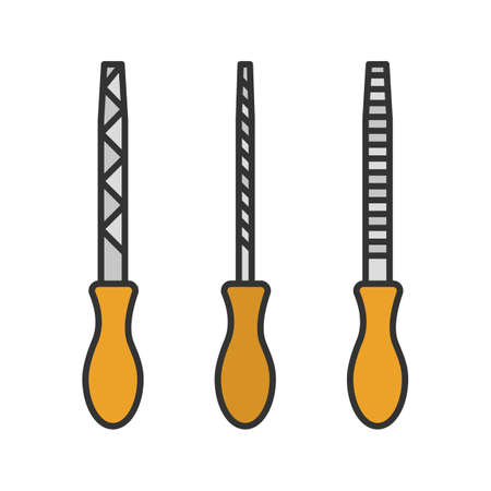 Metal files set color icon. Isolated vector illustration Illustration