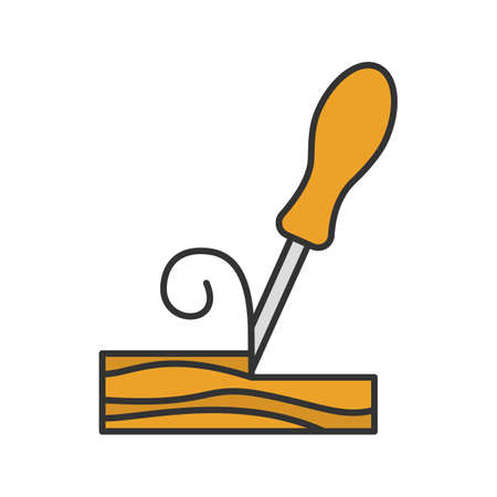 Wood chisel color icon. Isolated vector illustration Illustration