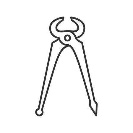 Carpenters end cutting pliers linear icon. Thin line illustration. Contour symbol. Vector isolated outline drawing.