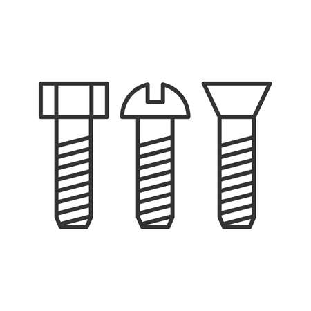 Metal bolts linear icon. Male screw. Thin line illustration. Metal wares. Contour symbol. Vector isolated outline drawing.