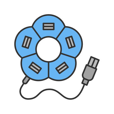 Flower shape USB hub color icon. Isolated vector illustration.