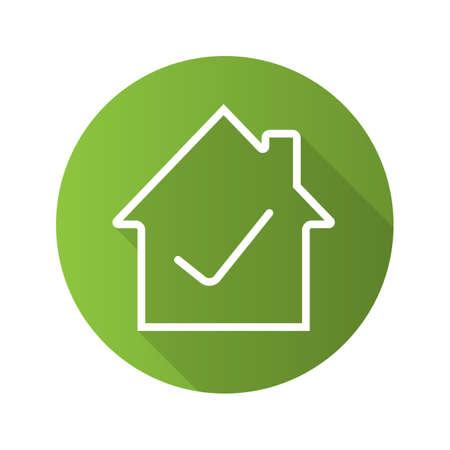 Goedgekeurde huis plat lineaire lange schaduw pictogram. Huis bouwen met vinkje binnen. Vector overzichtssymbool